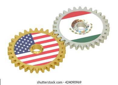 Mexico and United States relations concept, flags on a gears. 3D rendering isolated on white background
