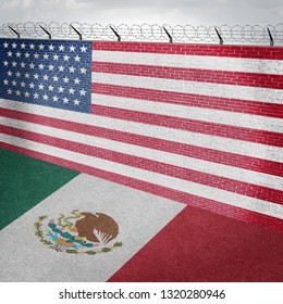 Mexico USA border wall and American homeland security along the Mexican boundary as a barrier to keep illegal immigrants out of the country with a huge brick barrier as a 3D illustration.