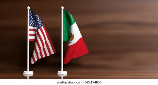 Mexico and USA miniature flags on wooden background. 3d illustration