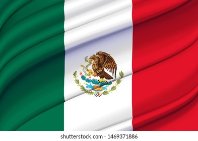Mexico waving flag illustration. Countries of North and Central America. Perfect for background and texture usage.