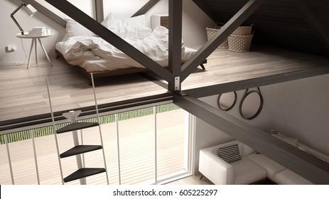 Mezzanine loft bedroom, stairs and living with sofa, minimalist scandinavian interior design, 3d illustration