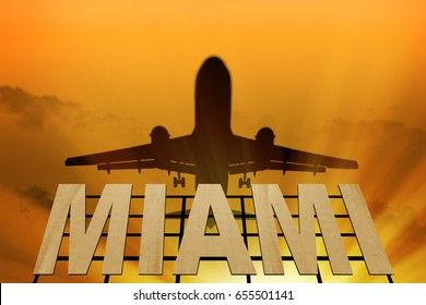 Miami airport. Airplane flying over the sign of Miami at sunset. Signboard of Miami and airplane silhouette (3d-Illustration)