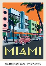 miami city travel retro illustration