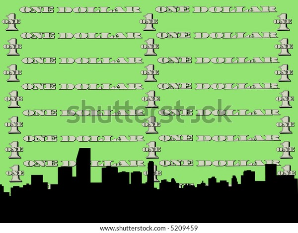 Miami skyline against one dollar bill illustration  JPG