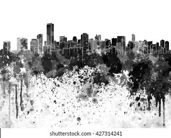 Miami skyline in black watercolor