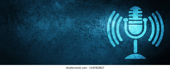 Mic icon isolated on special blue banner background abstract illustration