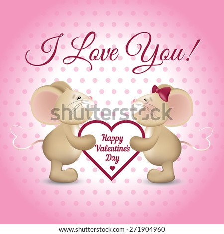 Mice couple sharing heart design greeting stock illustration mice couple sharing a heart design for greeting card for valentines day m4hsunfo