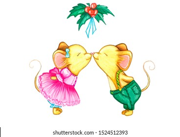 Mice kissing under mistletoe. New year 2020. Year of the mouse-rat