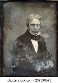 Michael Faraday (1791-1867) English physicist of electromagnetism and inventor of the electric generator. Daguerreotype by Mathew Brady, ca.1852.