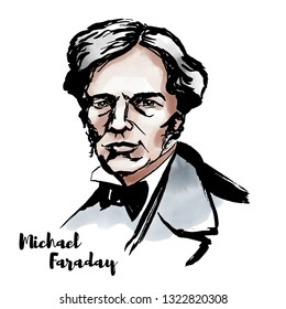 Michael Faraday watercolor portrait with ink contours. English scientist who contributed to the study of electromagnetism and electrochemistry.