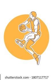 Michael Jordan Jump Illustration Minimalist Line Art. Suitable for logo, wallpaper, tatto, background, card, book illustration, clothes design, sticker, cover, etc.