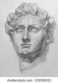 Michelangelo's David Statue:  Plaster Replica of the David Statue by Michelangelo. It is a Pencil Drawing