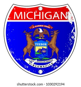 Michigan flag icons as an interstate sign over a white background