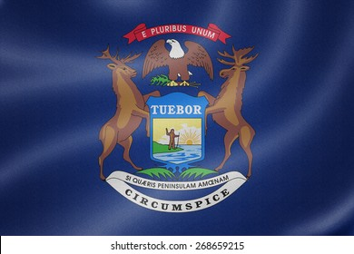 Michigan flag on the fabric texture background