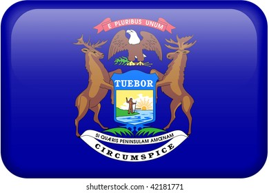 Michigan flag rectangular button.  Part of set of US State flags all in 2:3 proportion with accurate design and colors.