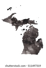 michigan grunge map. Retro distressed illustration with state map.