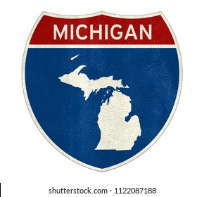 Michigan Interstate road sign map
