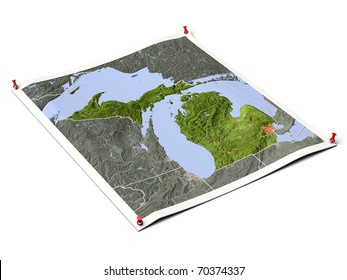 Michigan on unfolded map sheet with thumbtacks. Map colored according to vegetation, with borders and major urban areas. Includes clip path for the background.