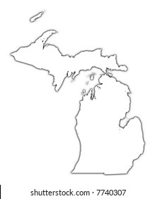 Michigan (USA) outline map with shadow. Detailed, Mercator projection.