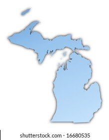 Michigan(USA) map light blue map with shadow. High resolution. Mercator projection.