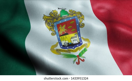 Michoacan City Flag Country Mexico Closeup View 3D Rendering