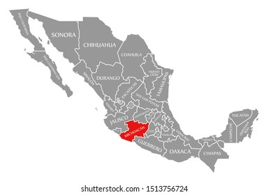 Michoacan red highlighted in map of Mexico