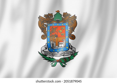 Michoacan state flag, Mexico waving banner collection. 3D illustration