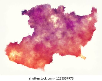 Michoacan state map of Mexico in front of a white background