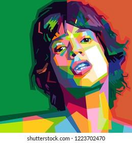 Mick Jagger in Pop art style/ Wpap Style