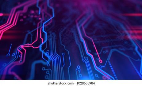 Micro chipset Purple Violet and Blue Microchip backdrop. Abstract background. Digital technology. PCB. Microchip link. 3d illustration.