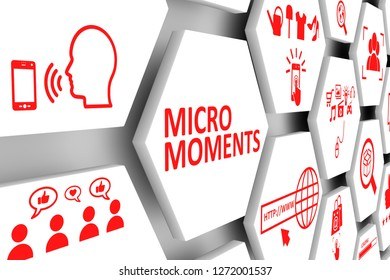 MICRO MOMENTS concept cell background 3d illustration