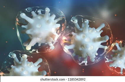 Microbial colony. Virus in living cells. Reproduction of microorganisms, germs and viruses. Immunity of a person. Viral infection attacks the human body. 3D colorful illustration on microbiology