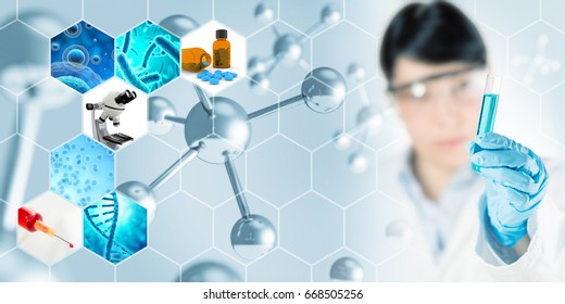 microbiology research abstract concept background, 3D illustration