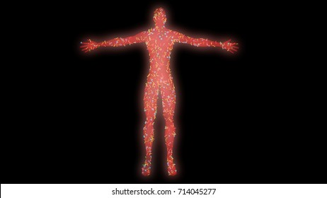 Microbiome , microorganisms, bacteria, viruses, microbes crawling , reproducing, multiplying , living on human body.3d rendering