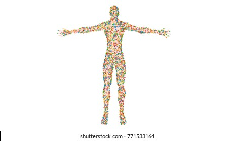 Microbiome , microorganisms, bacteria, viruses, microbes on semi transparent human body. 3d render