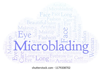 Microblading word cloud.