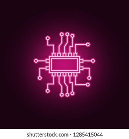 Microchip electronic device icon. Elements of artifical in neon style icons. Simple icon for websites, web design, mobile app, info graphics