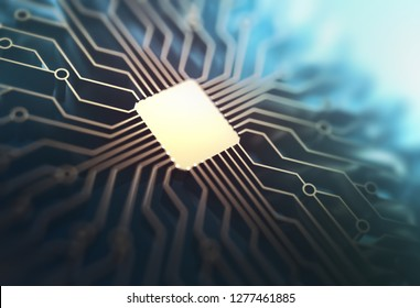 Microchip with gold connections in depth of field. Concept of technology, electronic printed circuit. 3D illustration.