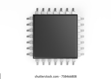 Microchip isolated on a white background. 3d rendering. Top view