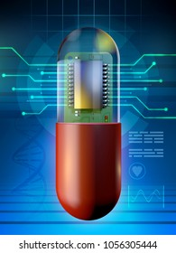 Microchip in a medicine capsule. 3D illustration.