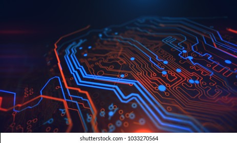 Microchip Orange Yellow and Blue Digital Hardware Technology. Computer background. PCB. Printed circuit board. Computer motherboard. 3d illustration.