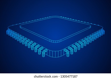 Micro-chip quantum processor, micro-processor with board electronic CPU wireframe low poly mesh 3d render illustration