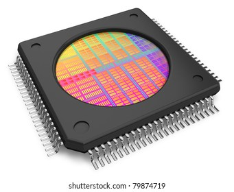 Microchip with visible die isolated on white background