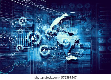 Microcircuit digital background . Mixed media