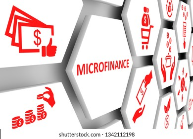 MICROFINANCE concept cell background 3d illustration