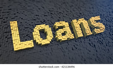 Microfinance concept, payday loans. Word Loans of the yellow square pixels on a black matrix background. 3D illustration graphics