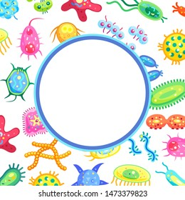 Microflora poster with text sample in circular block and bacteria. Intestine microorganisms digestive molecules and germs. Organisms in bowel raster