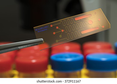 Microfluidic processor. Lab on chip (LOC) is a device that integrates several laboratory functions on  glass plate chip