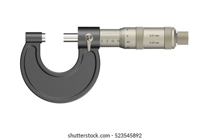 Micrometer on white background 3D rendering