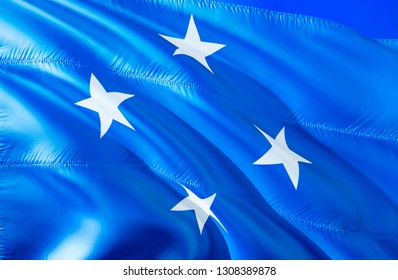 Micronesia flag. 3D Waving flag design. The national symbol of Micronesia, 3D rendering. National colors and National flag of Micronesia for a background. Oceania sign on smooth silk